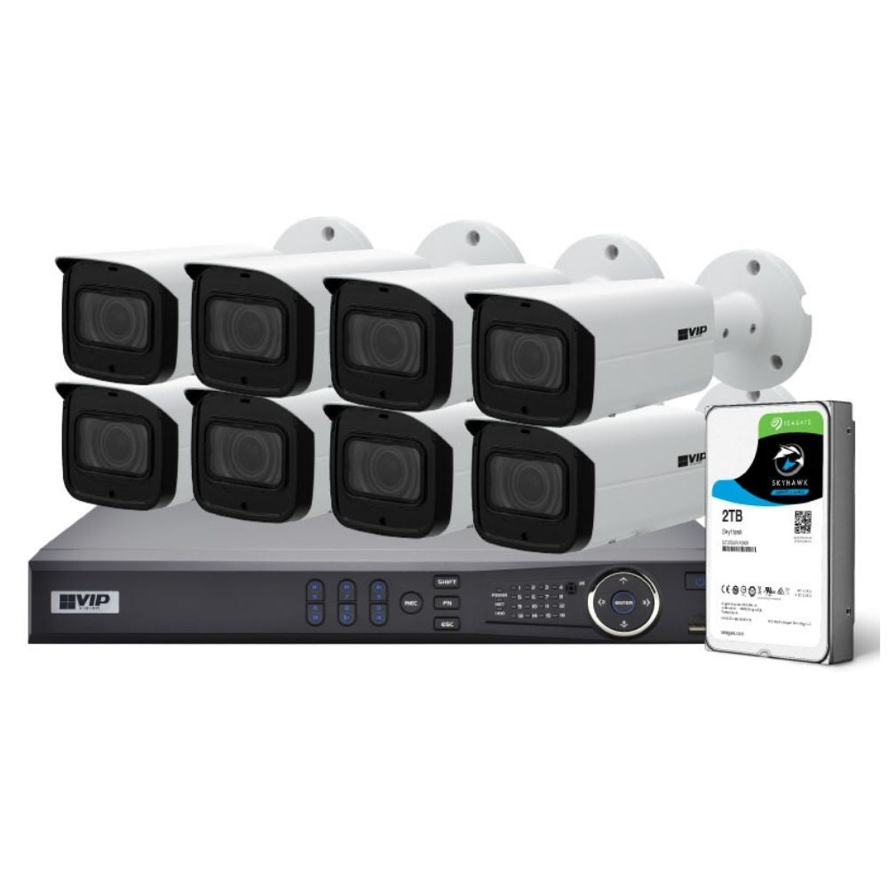 VIP Vision 8-Channel Security Kit: 12MP NVR, 8 X 2MP Fixed Bullet, Professional Series