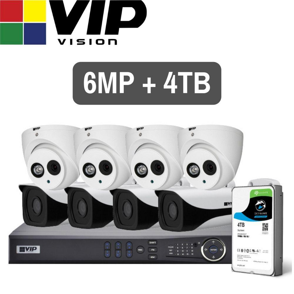 VIP Vision Pro 8 Channel Security Kit: 12MP NVR, 4 X 6MP Bullet, 4 X 6MP Turret, 4TB HDD