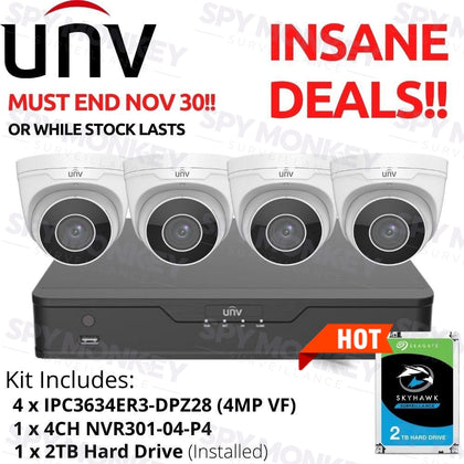 PROMOTION KITS! Uniview 4 Channel CCTV System: 4MP VF Eyeballs, 2TB HDD