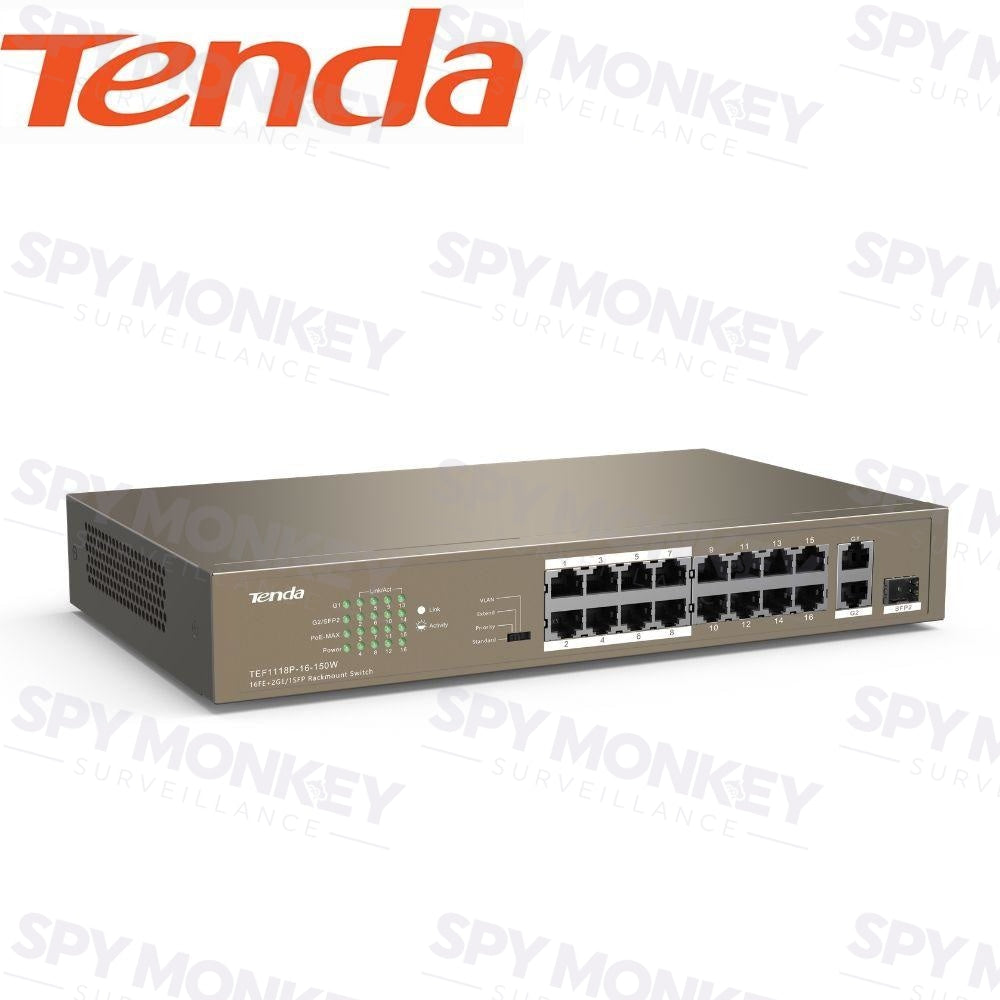 Tenda TN-TEG1116P-16-150W Switch: 16-Port PoE