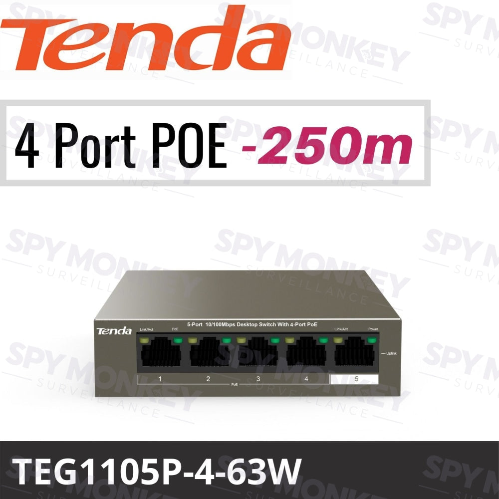 Tenda TEG1105P-4-63W Switch: 5-Port Gigabit with 4-Port PoE