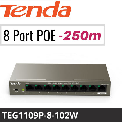 Tenda TEG1109P-8-102W: 9-Port Gigabit Switch with 8-Port PoE