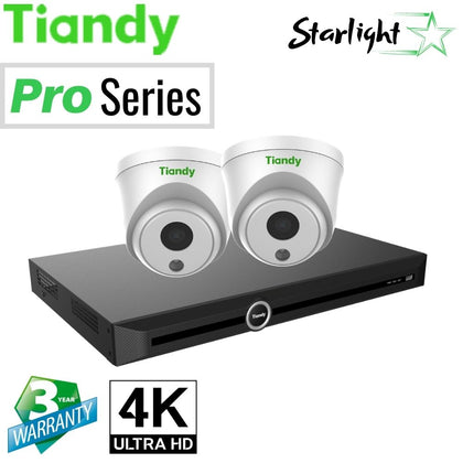 Tiandy 10-Channel Security System: 8MP (4K Ultra HD) NVR, 2 x 8MP Turret Starlight Cameras