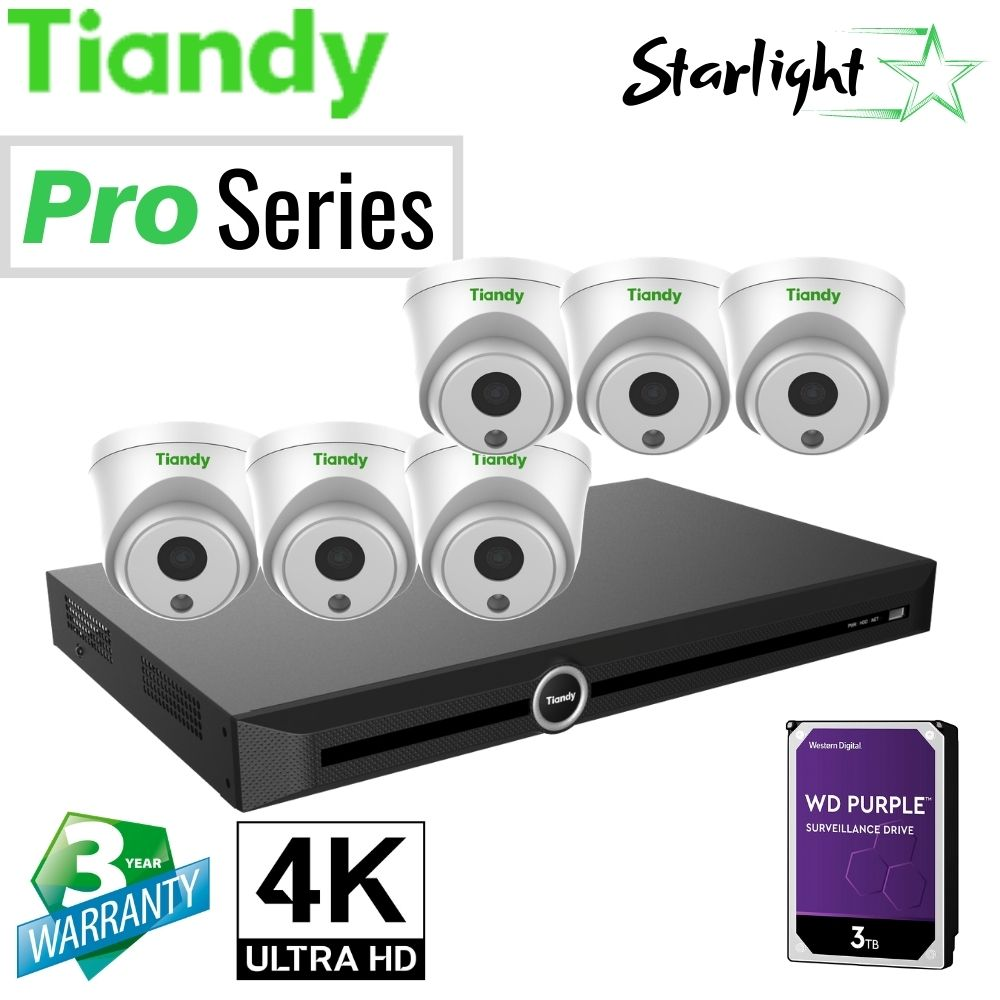 Tiandy 10-Channel Security System: 8MP (4K Ultra HD) NVR, 6 x 8MP Turret Starlight Cameras