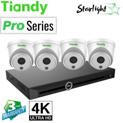 Tiandy 10-Channel Security System: 8MP (4K Ultra HD) NVR, 4 x 8MP Turret Starlight Cameras
