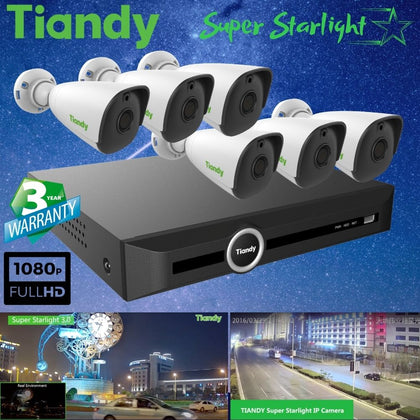 Tiandy 10-Channel Security System: 8MP (4K Ultra HD) NVR, 6 x 2MP Bullet Super Starlight Cameras
