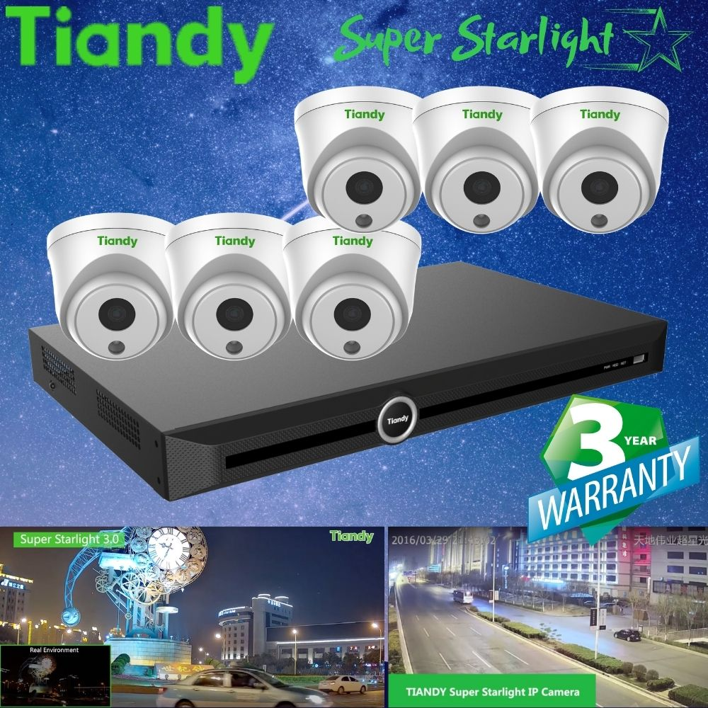Tiandy 10-Channel Security System: 8MP (4K Ultra HD) NVR, 6 x 2MP Turret Super Starlight Cameras