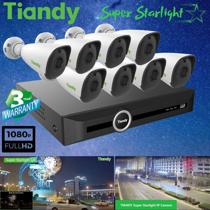 Tiandy 10-Channel Security System: 8MP (4K Ultra HD) NVR, 8 x 2MP Bullet Super Starlight Cameras