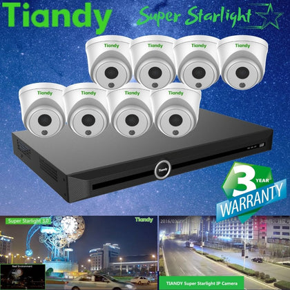 Tiandy 10-Channel Security System: 8MP (4K Ultra HD) NVR, 8 x 2MP Turret Super Starlight Cameras