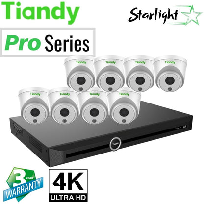 Tiandy 10-Channel Security System: 8MP (4K Ultra HD) NVR, 8 x 8MP Turret Starlight Cameras
