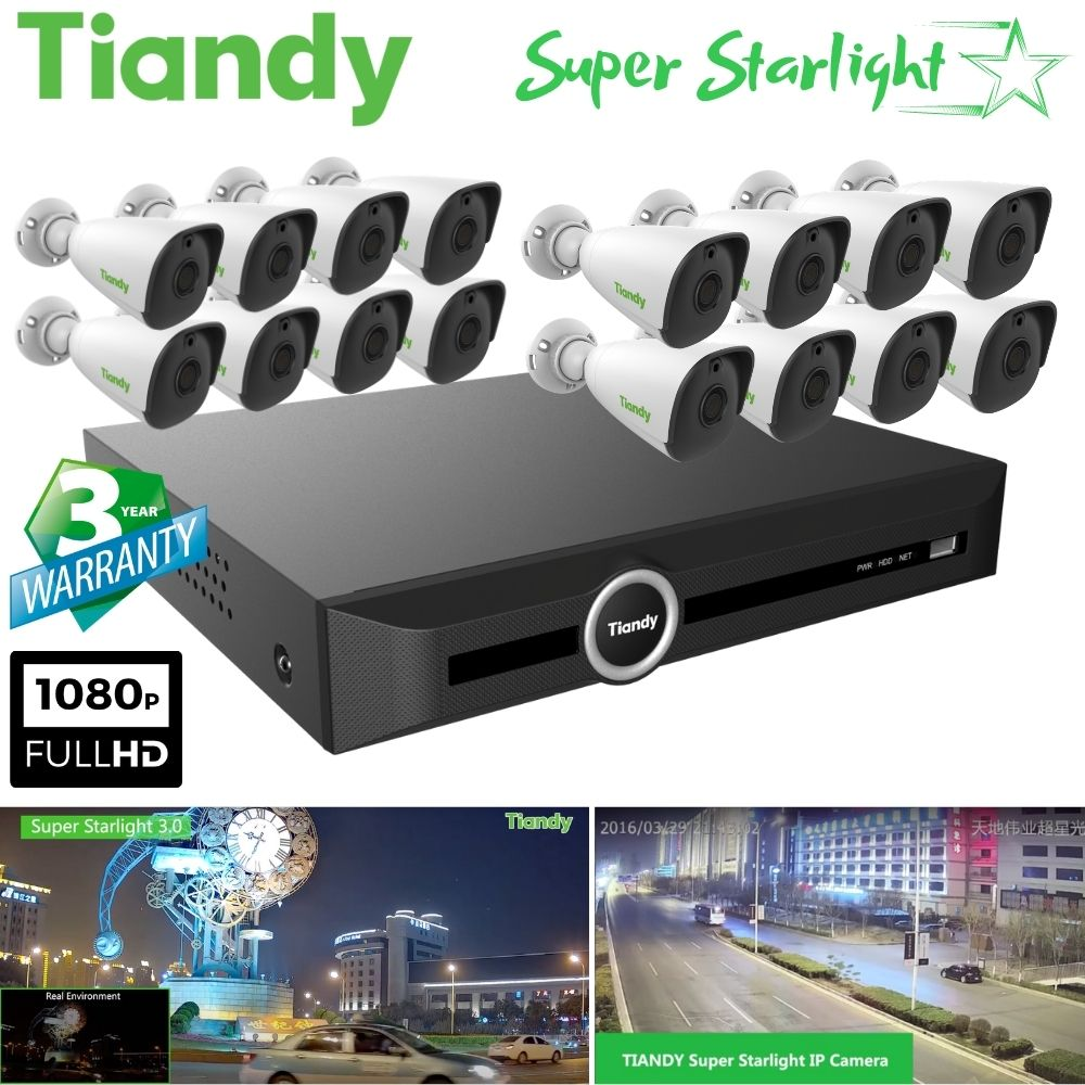 Tiandy 20-Channel Security System: 12MP (4K Ultra HD) NVR, 16 x 2MP Bullet Super Starlight Cameras