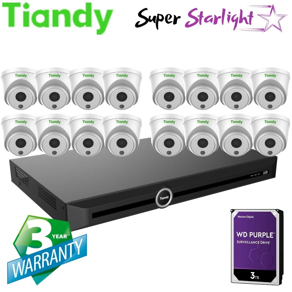 Tiandy 20-Channel Security System: 12MP (4K Ultra HD) NVR, 16 x 2MP Turret Super Starlight Cameras