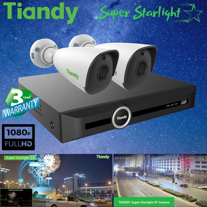 Tiandy 5-Channel Security System: 5MP NVR, 2 x 2MP Bullet Super Starlight Cameras