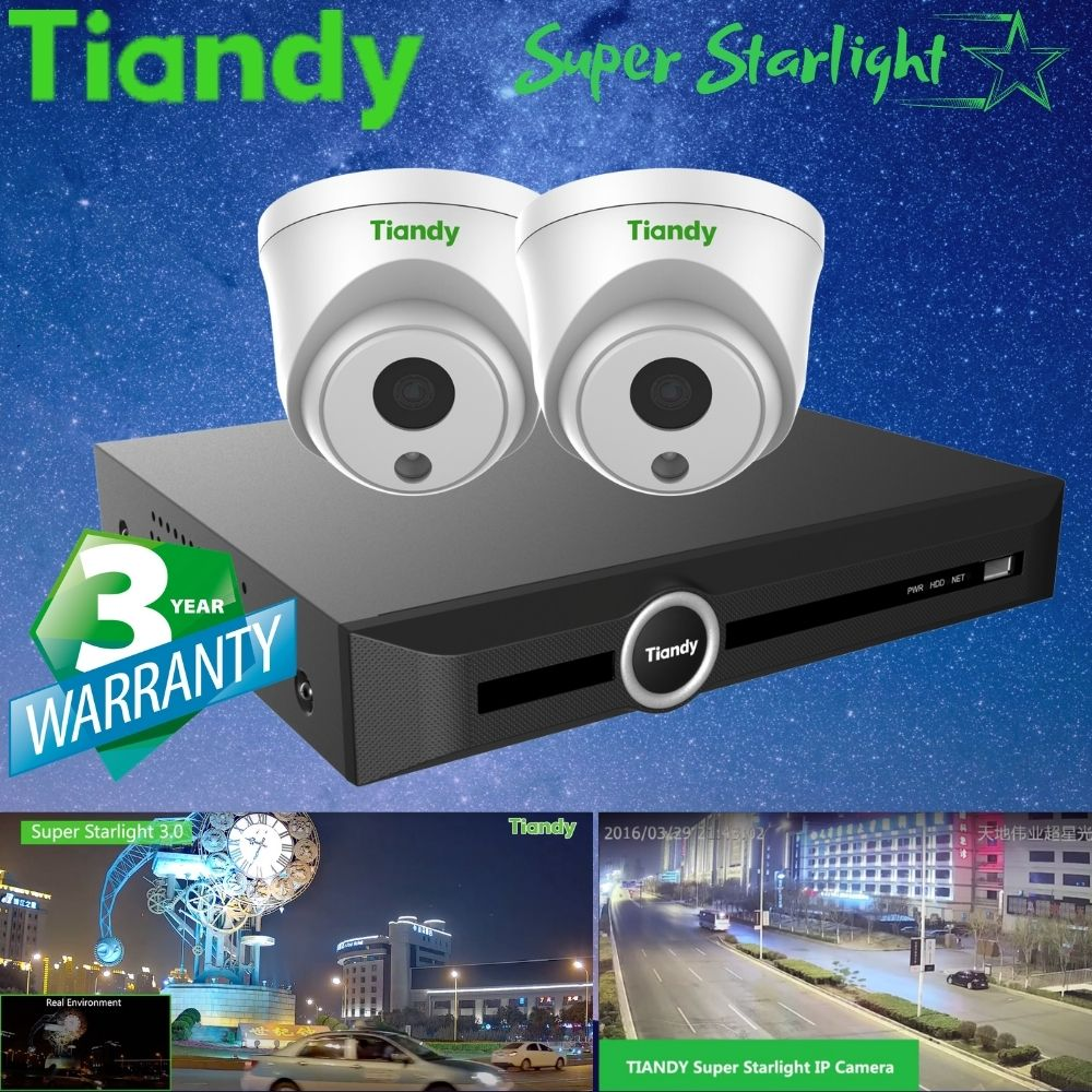 Tiandy 5-Channel Security System: 5MP NVR, 2 x 2MP Turret Super Starlight Cameras