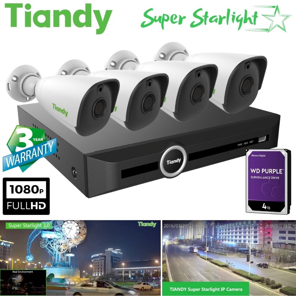 Tiandy 5-Channel Security System: 5MP NVR, 4 x 2MP Bullet Super Starlight Cameras