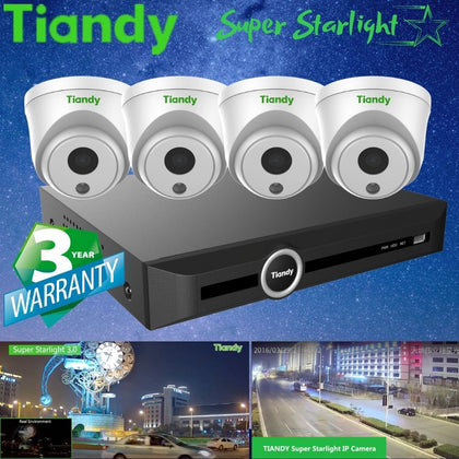 Tiandy 5-Channel Security System: 5MP NVR, 4 x 2MP Turret Super Starlight Cameras