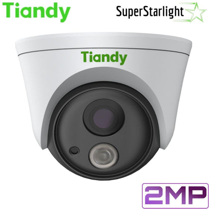 Tiandy TC-A32F4 1/E Security Camera: 2MP Turret, 6mm Fixed, Super Starlight, Face Recognition