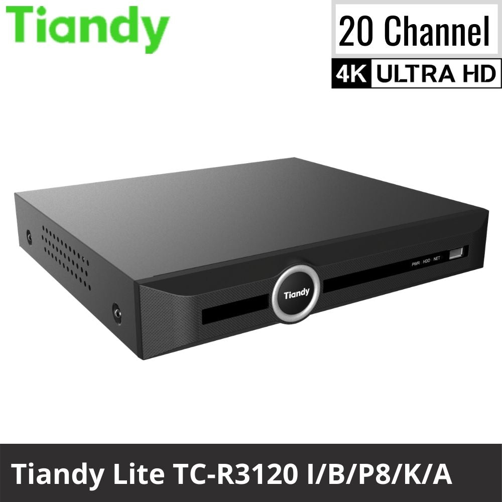 Tiandy TC-R3120 I/B/P8/K/A 20-Channel Network Video Recorder: 8MP 4K Ultra HD Lite Series