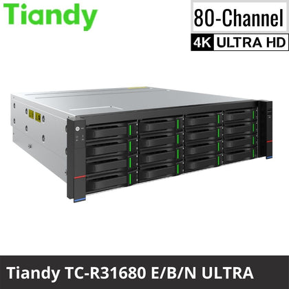 Tiandy TC-R31680 E/B/N 80-Channel Network Video Recorder: 12MP 4K Ultra HD, Ultra Series