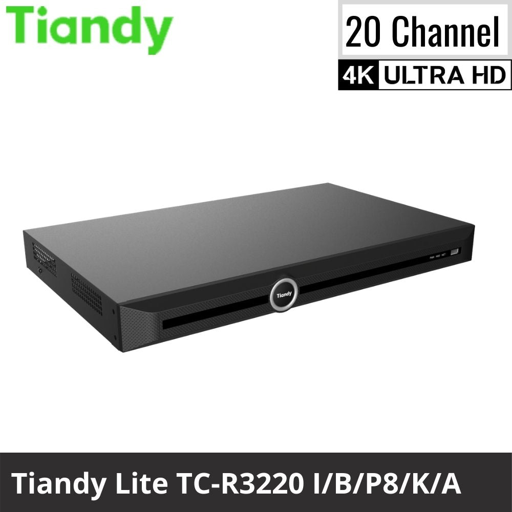Tiandy TC-R3220 I/B/P8/K/A 20-Channel Network Video Recorder: 8MP 4K Ultra HD, Lite Series