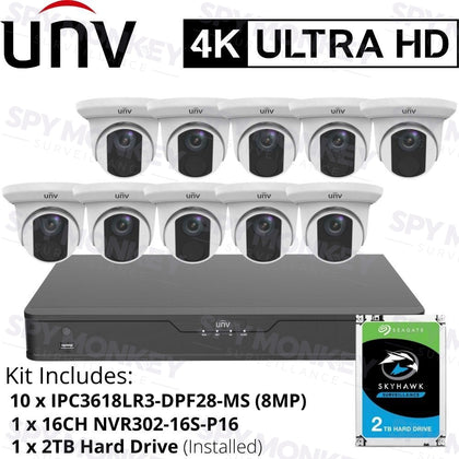 Uniview 16 Channel Security System: 8MP(4K) NVR, 10 x 8MP(4K) Turret Cameras, 2TB HDD