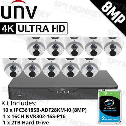 Uniview 16 Channel Security System: 8MP NVR, 10 x 8MP (4K) Turret Cameras, 2TB HDD