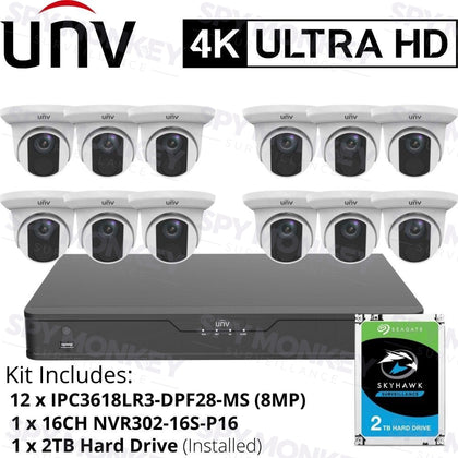 Uniview 16 Channel Security System: 8MP(4K) NVR, 12 x 8MP(4K) Turret Cameras, 2TB HDD