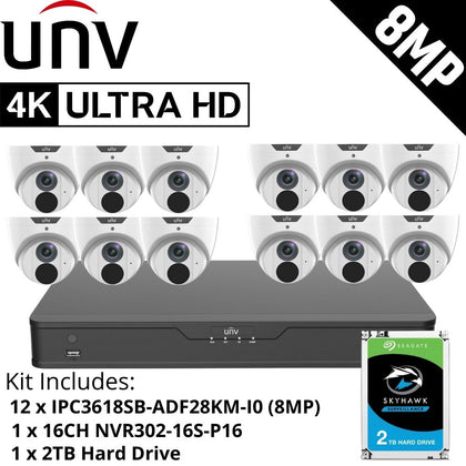 Uniview 16 Channel Security System: 8MP NVR, 12 x 8MP (4K) Turret Cameras, 2TB HDD