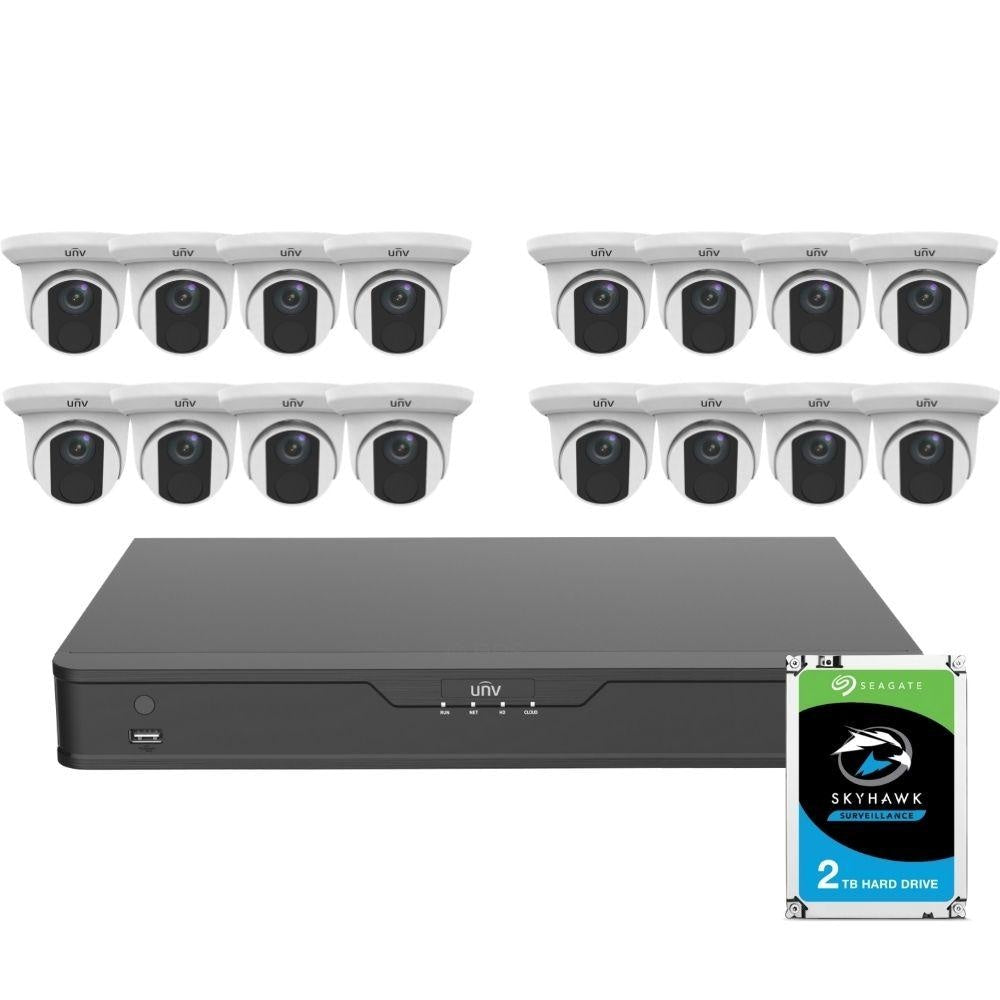 Uniview 16 Channel Security System: 8MP(4K) NVR, 16 x 8MP(4K) Turret Cameras, 2TB HDD