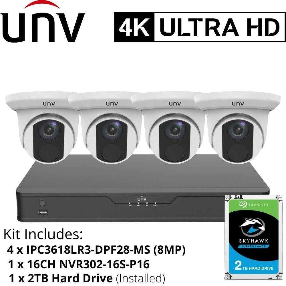 Uniview 8/16 Channel Security System: 8MP(4K) NVR, 4 x 8MP(4K) Turret Cameras, 2TB HDD