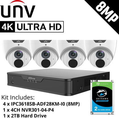 Uniview 4 Channel Security System: 8MP NVR, 4 x 8MP (4K) Turret Cameras, 2TB HDD