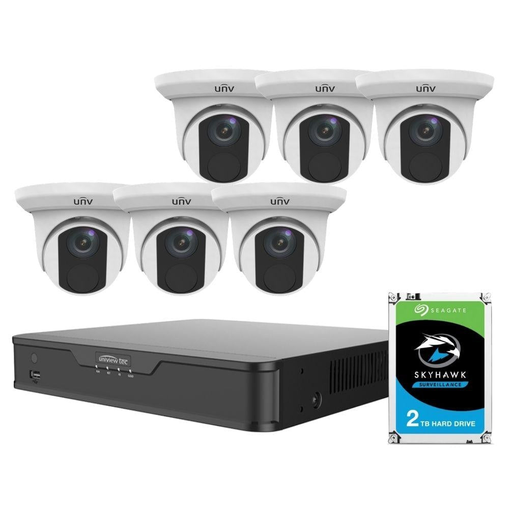 Uniview 8/16 Channel Security System: 8MP(4K) NVR, 6 x 8MP(4K) Turret Cameras, 2TB HDD