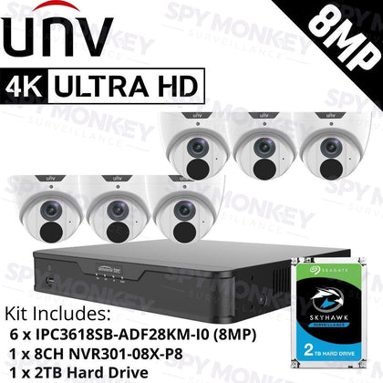 Uniview 8 Channel Security System: 8MP NVR, 6 x 8MP (4K) Turret Cameras, 2TB HDD