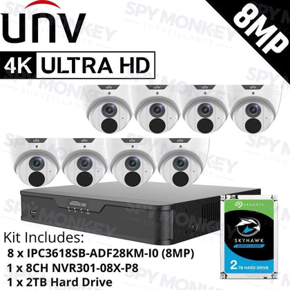 Uniview 8 Channel Security System: 8MP NVR, 8 x 8MP (4K) Turret Cameras, 2TB HDD
