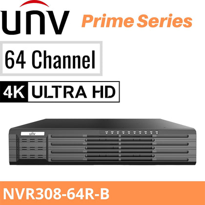 Uniview NVR308-64R-B - 64 Channels: 8 SATA, 16xPOE, Prime Series