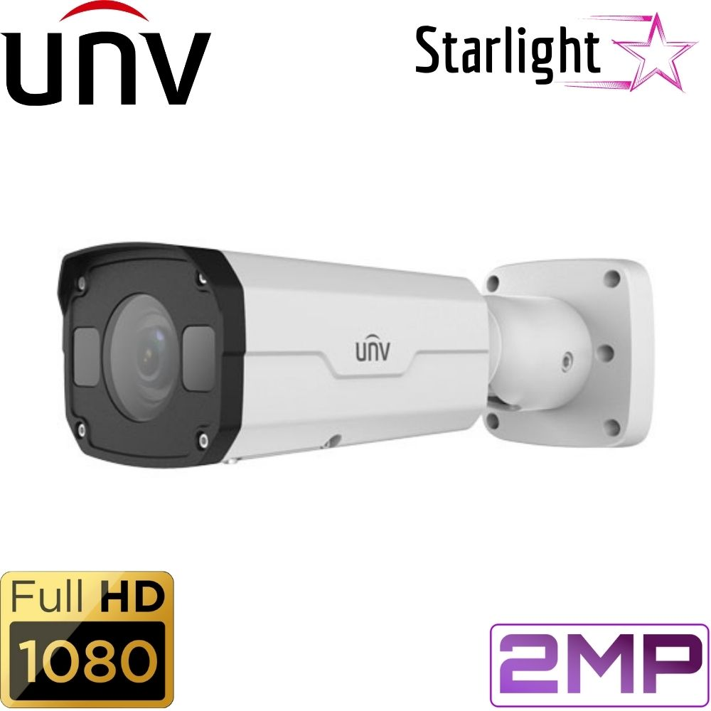 Uniview Security Camera: 2MP Starlight Bullet, 2.7~13.5mm Motorized, 50m IR