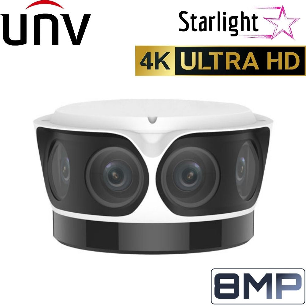 Uniview Security Camera: 8MP (4K Ultra HD) Starlight OmniView, 4 × Fixed 4.2mm, 50m IR