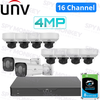 Uniview 16 Channel Building Kit: 4K NVR, 10 x VF Dome and Bullet Cameras, 8TB HDD