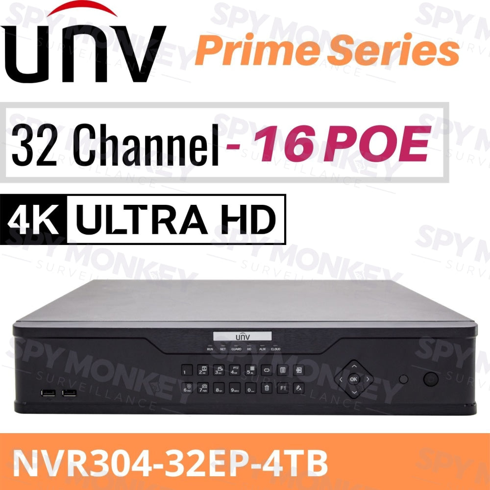 Uniview 32 Channel Network Video Recorder: 12MP Ultra HD, 4TB HDD