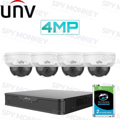 Uniview 4/8 Channel Security System: 4K NVR, 4 x 4MP Domes, 2TB HDD