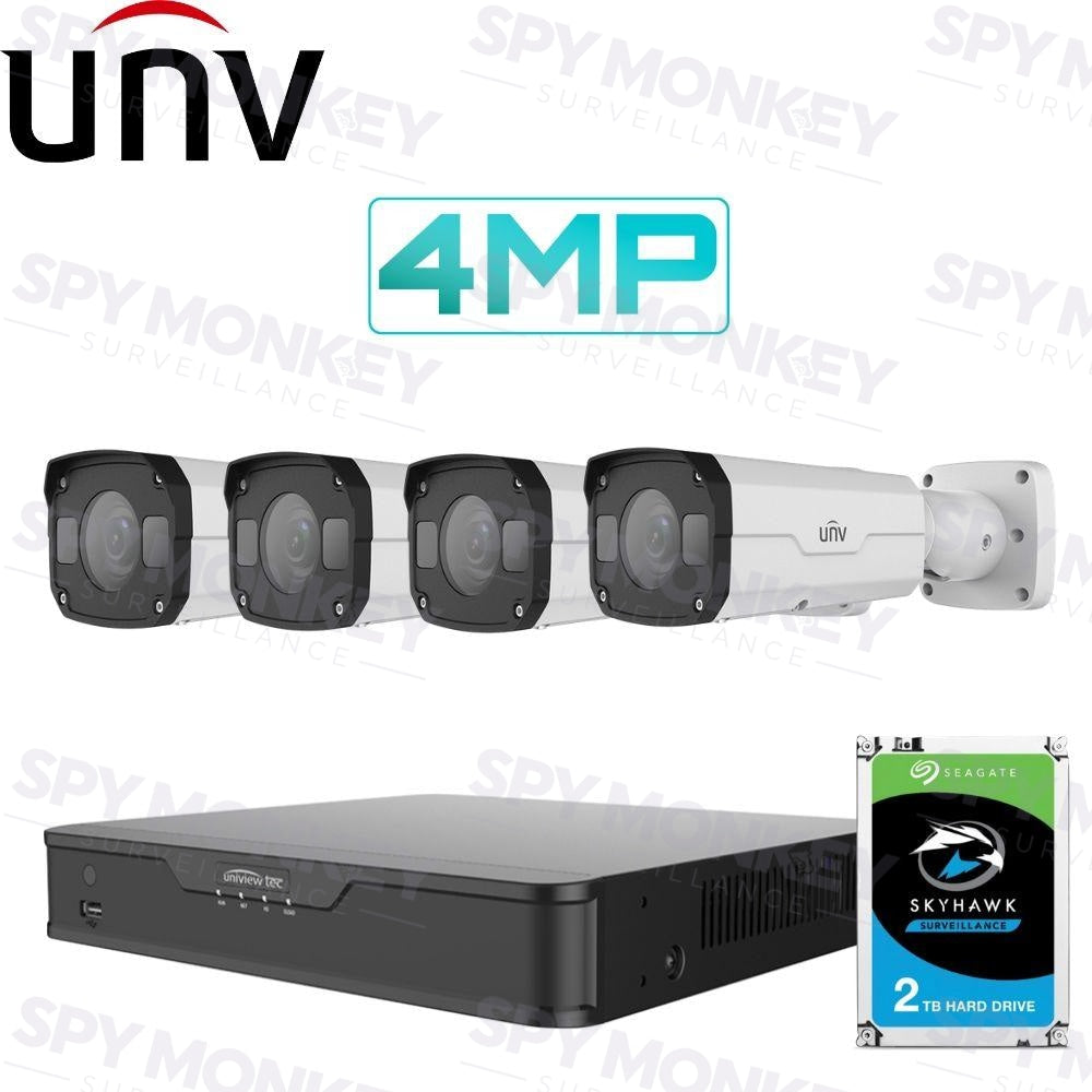 Uniview 4/8 Channel Security System: 8MP NVR, 4 x 4MP Bullet Cameras, 2TB HDD