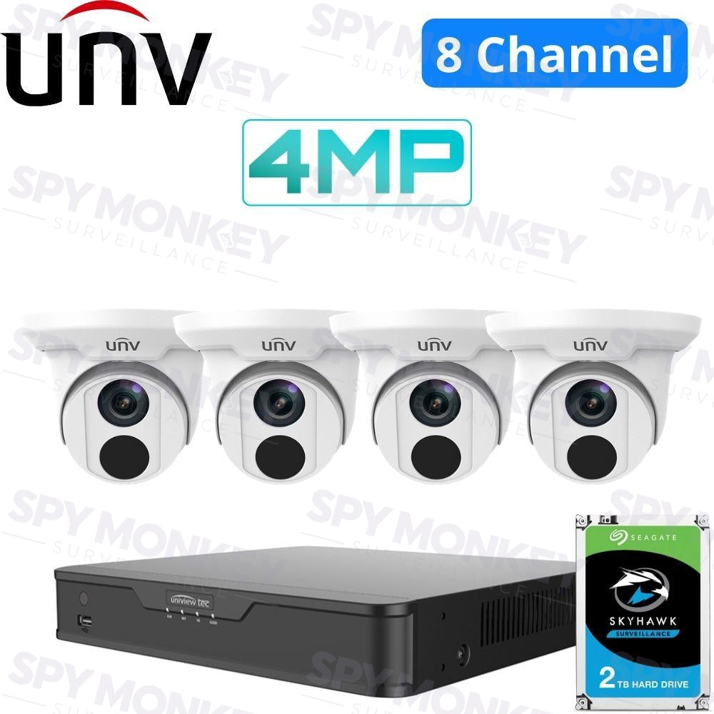 Uniview 4 Channel Tradies Kit: 4K NVR, 4 x 4MP Turret Cameras, 2TB HDD