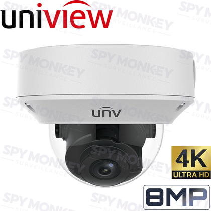 Uniview Security Camera: 8MP (4K) Motorised Varifocal Dome 2.8~12mm