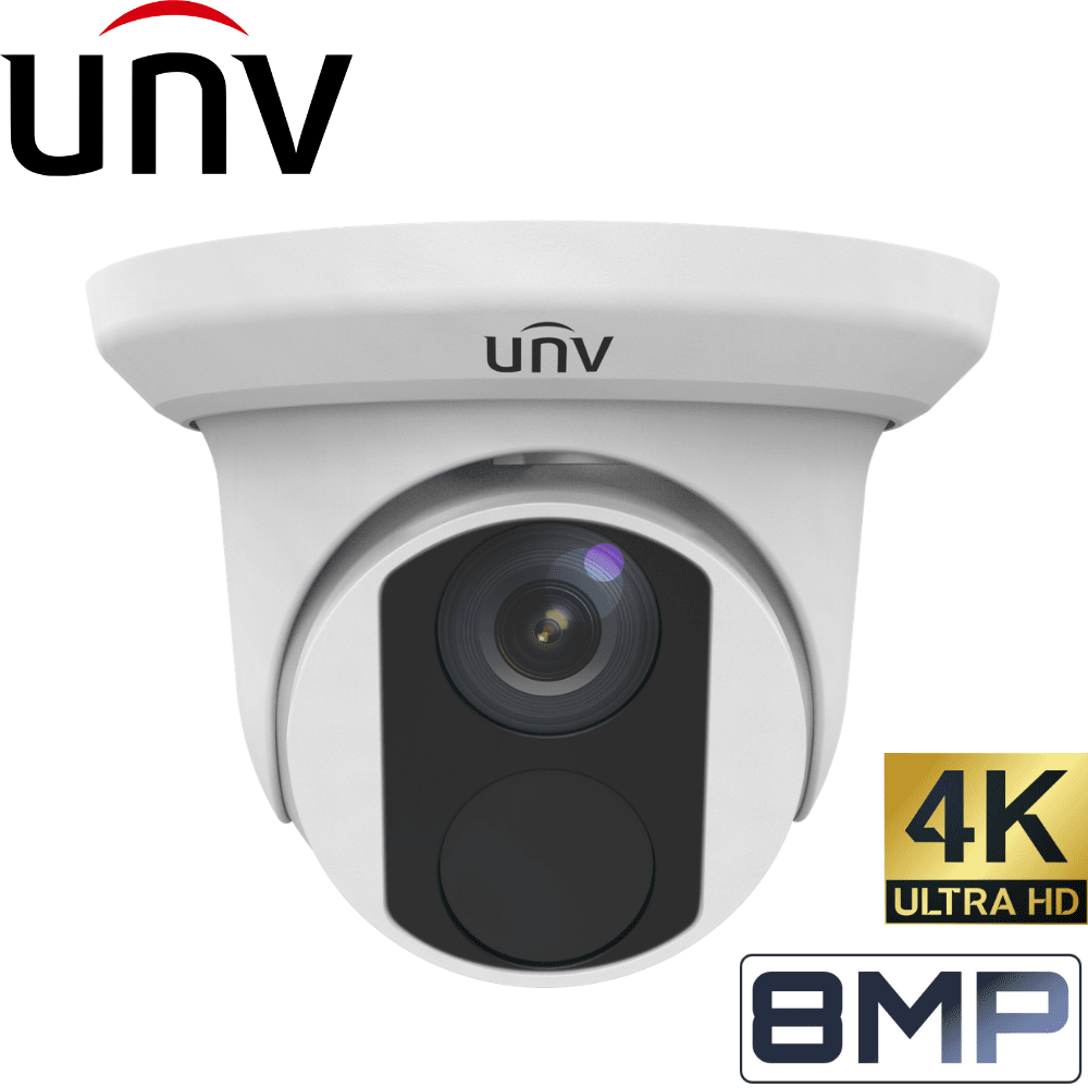 Uniview 8 Channel Security System: 8MP NVR, 4 x 8MP(4K) Turret Cameras, 3TB HDD