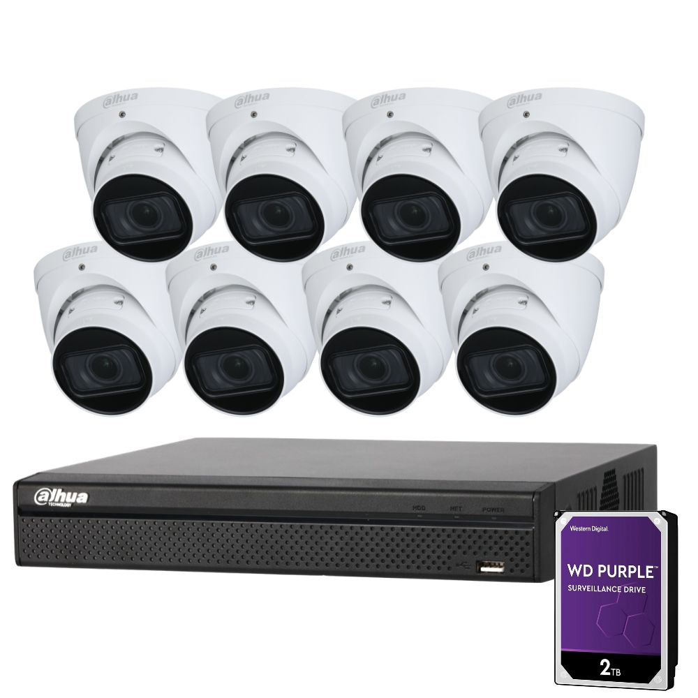Dahua 8 Channel Security Kit: 8MP (4K) NVR, 8 X 4MP Motorised Turrets, 2TB HDD