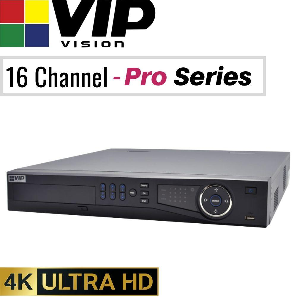 VIP Vision Pro 16 Channel Security Kit: 12MP NVR, 8 X 2MP Bullets, 8 X 2MP Turrets, 4TB HDD