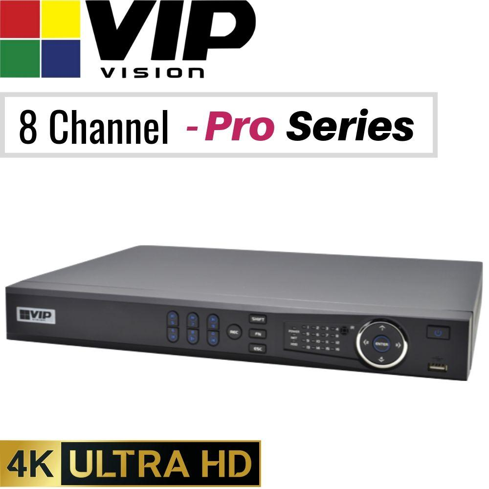 VIP Vision Pro 8 Channel Security Kit: 12MP NVR, 4 X 8MP Bullets, 4 X 8MP Turrets, 4TB HDD