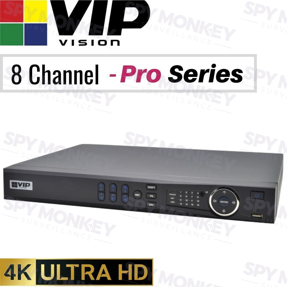 VIP Vision Pro 8 Channel Network Video Recorder: 12MP Ultra HD