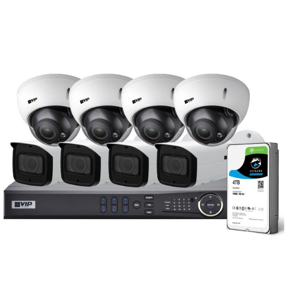 VIP Vision Pro 8 Channel Security Kit: 12MP NVR, 4 X 8MP VF Bullet, 4 X 8MP VF Dome, 4TB HDD