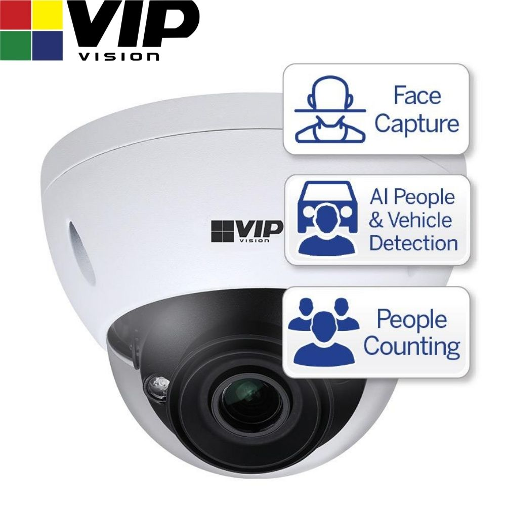 VIP Vision Security Camera: 4MP Dome, Ultimate AI Series, 2.7-12mm
